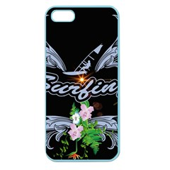 Surfboarder With Damask In Blue On Black Bakcground Apple Seamless Iphone 5 Case (color) by FantasyWorld7