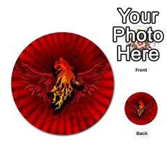 Lion With Flame And Wings In Yellow And Red Multi Purpose Cards (round)  by FantasyWorld7