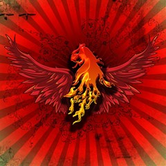 Lion With Flame And Wings In Yellow And Red Magic Photo Cubes by FantasyWorld7