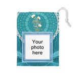 Pretty Blue Large Drawstring Pouch - Drawstring Pouch (Large)