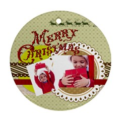 Xmas By Joy   Round Ornament (two Sides)   5nseknkbit95   Www Artscow Com Back