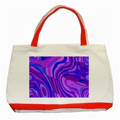 Retro Abstract Blue Pink Classic Tote Bag (Red)  by ImpressiveMoments