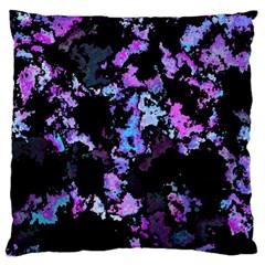 Splatter Blue Pink Large Cushion Cases (two Sides)  by MoreColorsinLife