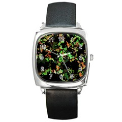 Splatter Red Green Square Metal Watches by MoreColorsinLife