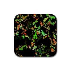 Splatter Red Green Rubber Square Coaster (4 Pack)  by MoreColorsinLife