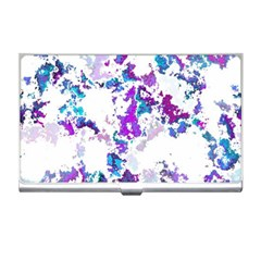Splatter White Lilac Business Card Holders by MoreColorsinLife