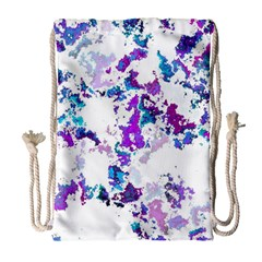 Splatter White Lilac Drawstring Bag (large) by MoreColorsinLife