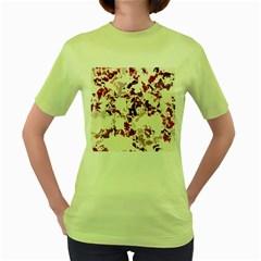 Splatter White Women s Green T-Shirt by MoreColorsinLife
