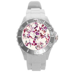 Splatter White Round Plastic Sport Watch (l) by MoreColorsinLife