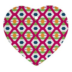 Honeycomb In Rhombus Pattern Heart Ornament (two Sides) by LalyLauraFLM