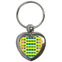 Rectangles And Vertical Stripes Pattern Key Chain (heart) by LalyLauraFLM