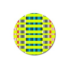 Rectangles And Vertical Stripes Pattern Magnet 3  (round) by LalyLauraFLM