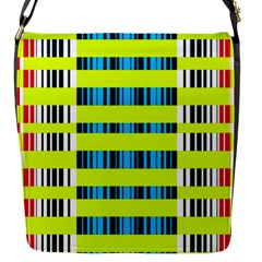 Rectangles And Vertical Stripes Pattern Flap Closure Messenger Bag (s) by LalyLauraFLM