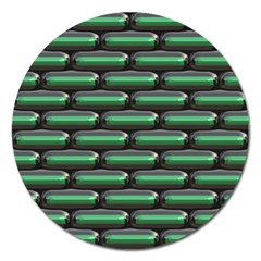 Green 3d Rectangles Pattern Magnet 5  (round) by LalyLauraFLM