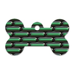 Green 3d Rectangles Pattern Dog Tag Bone (two Sides) by LalyLauraFLM