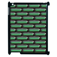 Green 3d Rectangles Pattern Apple Ipad 2 Case (black) by LalyLauraFLM