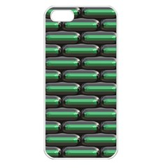 Green 3d Rectangles Pattern Apple Iphone 5 Seamless Case (white) by LalyLauraFLM
