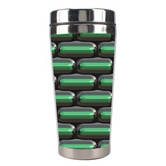 Green 3d Rectangles Pattern Stainless Steel Travel Tumbler by LalyLauraFLM