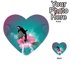 Orca Jumping Out Of A Flower With Waterfalls Multi Purpose Cards (heart)  by FantasyWorld7