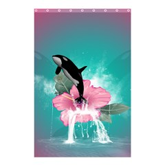Orca Jumping Out Of A Flower With Waterfalls Shower Curtain 48  x 72  (Small)  by FantasyWorld7