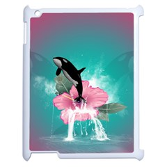 Orca Jumping Out Of A Flower With Waterfalls Apple iPad 2 Case (White) by FantasyWorld7