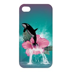 Orca Jumping Out Of A Flower With Waterfalls Apple Iphone 4/4s Hardshell Case by FantasyWorld7