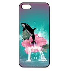 Orca Jumping Out Of A Flower With Waterfalls Apple Iphone 5 Seamless Case (black) by FantasyWorld7