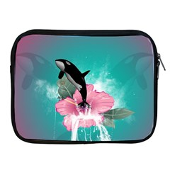 Orca Jumping Out Of A Flower With Waterfalls Apple Ipad 2/3/4 Zipper Cases by FantasyWorld7