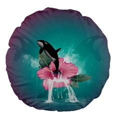 Orca Jumping Out Of A Flower With Waterfalls Large 18  Premium Flano Round Cushions by FantasyWorld7