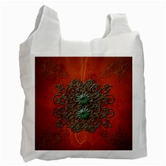 Wonderful Floral Elements On Soft Red Background Recycle Bag (two Side)  by FantasyWorld7
