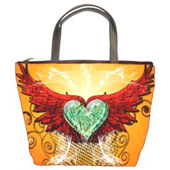Beautiful Heart Made Of Diamond With Wings And Floral Elements Bucket Bags by FantasyWorld7