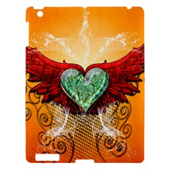 Beautiful Heart Made Of Diamond With Wings And Floral Elements Apple Ipad 3/4 Hardshell Case by FantasyWorld7