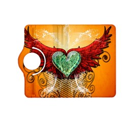Beautiful Heart Made Of Diamond With Wings And Floral Elements Kindle Fire Hd (2013) Flip 360 Case by FantasyWorld7