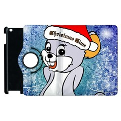 Funny Cute Christmas Mouse With Christmas Tree And Snowflakses Apple Ipad 3/4 Flip 360 Case by FantasyWorld7