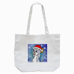 Funny Cute Christmas Mouse With Christmas Tree And Snowflakses Tote Bag (white)  by FantasyWorld7