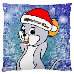 Funny Cute Christmas Mouse With Christmas Tree And Snowflakses Standard Flano Cushion Cases (Two Sides)  by FantasyWorld7