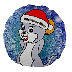 Funny Cute Christmas Mouse With Christmas Tree And Snowflakses Large 18  Premium Flano Round Cushions by FantasyWorld7