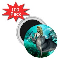 Beautiful Mermaid With  Dolphin With Bubbles And Water Splash 1 75  Magnets (100 Pack)  by FantasyWorld7