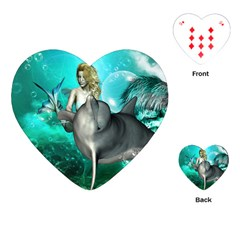 Beautiful Mermaid With  Dolphin With Bubbles And Water Splash Playing Cards (heart)  by FantasyWorld7