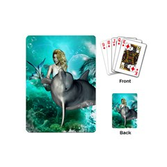Beautiful Mermaid With  Dolphin With Bubbles And Water Splash Playing Cards (mini)  by FantasyWorld7