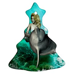 Beautiful Mermaid With  Dolphin With Bubbles And Water Splash Ornament (christmas Tree)