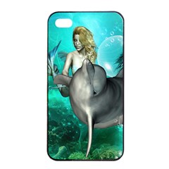 Beautiful Mermaid With  Dolphin With Bubbles And Water Splash Apple Iphone 4/4s Seamless Case (black) by FantasyWorld7