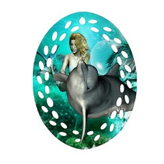 Beautiful Mermaid With  Dolphin With Bubbles And Water Splash Oval Filigree Ornament (2 Side)  by FantasyWorld7