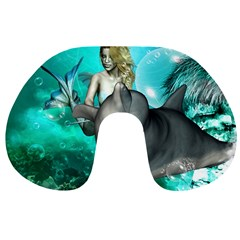 Beautiful Mermaid With  Dolphin With Bubbles And Water Splash Travel Neck Pillows by FantasyWorld7