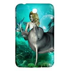Beautiful Mermaid With  Dolphin With Bubbles And Water Splash Samsung Galaxy Tab 3 (7 ) P3200 Hardshell Case  by FantasyWorld7