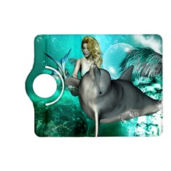 Beautiful Mermaid With  Dolphin With Bubbles And Water Splash Kindle Fire Hd (2013) Flip 360 Case by FantasyWorld7