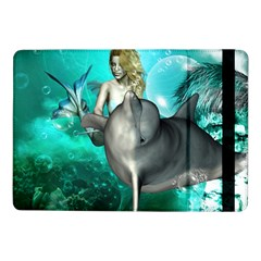 Beautiful Mermaid With  Dolphin With Bubbles And Water Splash Samsung Galaxy Tab Pro 10.1  Flip Case by FantasyWorld7
