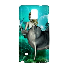 Beautiful Mermaid With  Dolphin With Bubbles And Water Splash Samsung Galaxy Note 4 Hardshell Case by FantasyWorld7