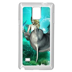 Beautiful Mermaid With  Dolphin With Bubbles And Water Splash Samsung Galaxy Note 4 Case (white) by FantasyWorld7