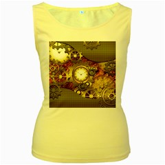 Steampunk, Wonderful Steampunk Design With Clocks And Gears In Golden Desing Women s Yellow Tank Tops by FantasyWorld7